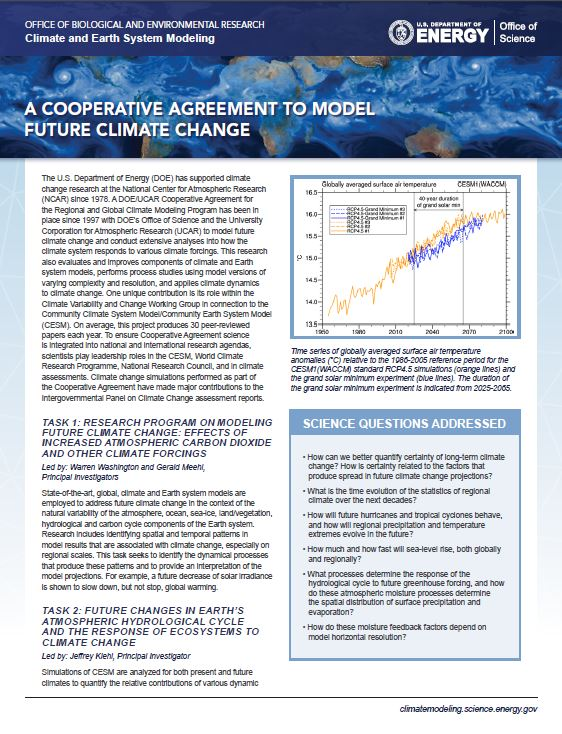 A Cooperative Agreement To Model Future Climate Change Climate And