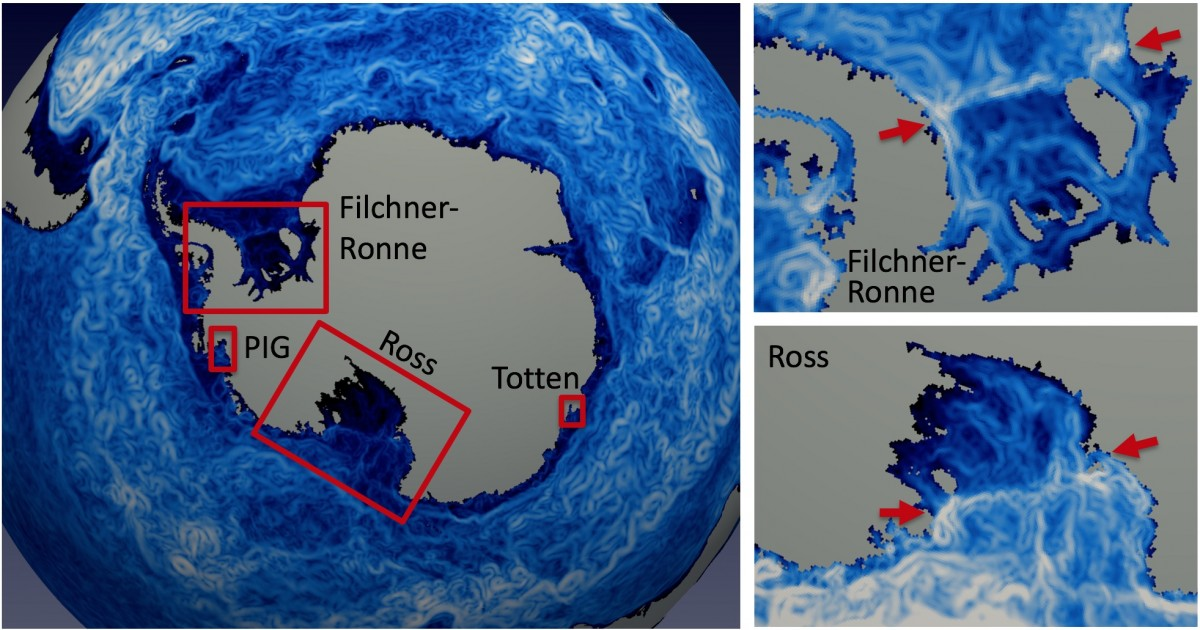 The image of instantaneous column-integrated ocean speed for the high-resolution simulation shows significant eddy activity throughout the Southern Ocean. Right panels reveal currents near and below the Filchner-Ronne and Ross ice shelves, where the shelf edge is denoted by arrows.