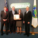 Secretary Moniz presented the 2015 DOE Secretarial Honor Awards to the ACME Executive Committee, pictured here with DOE Earth System Modeling Program Manager Dorothy Koch during a special program held May 8 at DOE headquarters in Washington, D.C. From left to right: Mark Taylor, David Bader, Dorothy Koch, and Bill Collins.