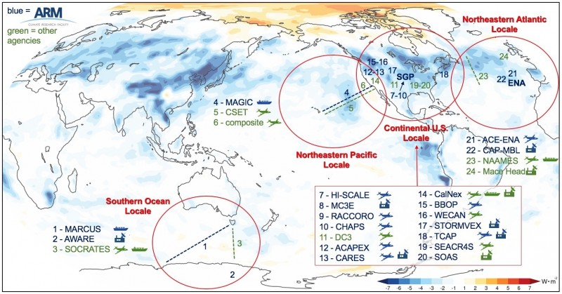 This figure illustrates field campaigns in the four focus areas, overlaid with anthropogenic aerosol-mediated net top-of-atmosphere radiative effects of liquid clouds in E3SMv1.