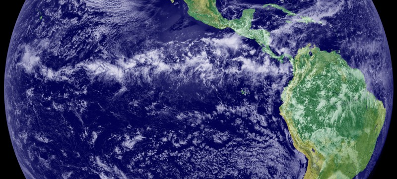 The Intertropical Convergence Zone, or ITCZ, is a narrow band of rising air and intense rainfall along the equator, where Northern and Southern Hemisphere trade winds converge. Image courtesy of NOAA.