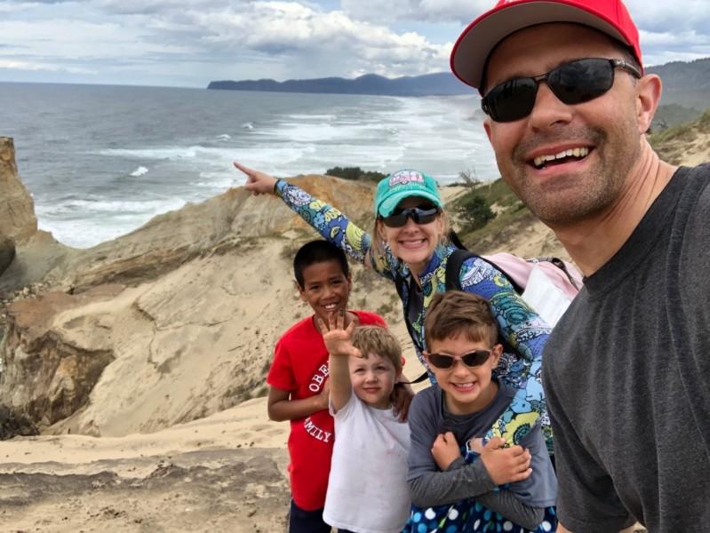 Kraucunas and family at Cape Kiwanda in Oregon.