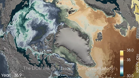 A visualization of salinity in the Arctic and subpolar North Atlantic, centered on Greenland. It's a screenshot from a video on ocean current simulations by the U.S. Department of Energy's Energy Exascale Earth System Model (E3SM).