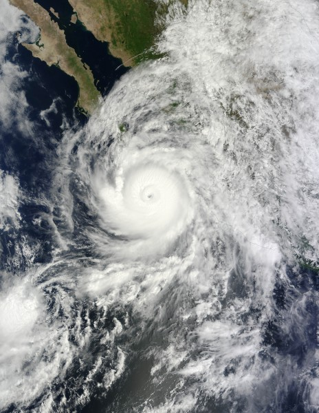 In 2014, Hurricane Odile, an intense landfalling tropical cyclone, brought high winds and heavy rainfall to the Baja California peninsula. NASA image by Jeff Schmaltz.