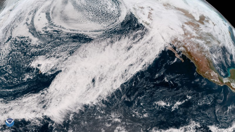 A February 2019 atmospheric river drenches California with heavy rain and mountain snow. Image courtesy of NOAA.